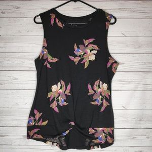 A New Day Black Floral Knotted Tank Top Size Med.